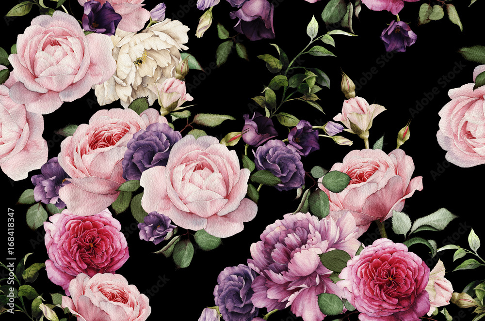 Fototapety, obrazy: Seamless floral pattern with roses, watercolor