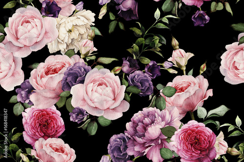 Poster Kunstmatig Seamless floral pattern with roses, watercolor