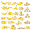 canvas print picture banana isolated on white background