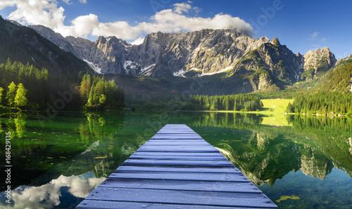 Fototapeta Mountain lake in the Julian Alps in Italy obraz