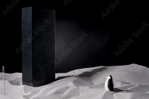 Photo  Penguin on the sand meets a monolith