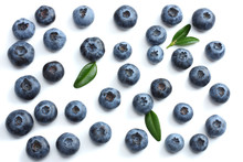 Blueberries With Green Leaf Is...