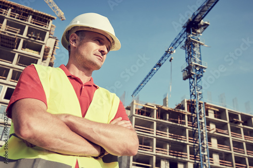construction worker at building area Wallpaper Mural