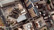 Overhead aerial shot of big city.