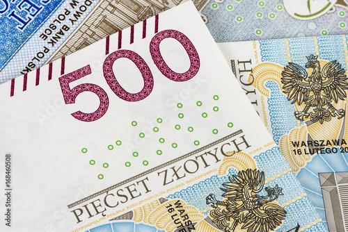Fotografiet  Closeup of 500 pln banknotes