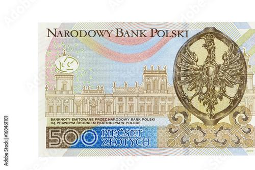Cuadros en Lienzo Banknote of 500 polish zloty on white background
