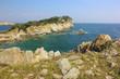 Sea scape. Rocky shore. Orlinka Bay, Far Eastern Marine Reserve, Primorye, Russia
