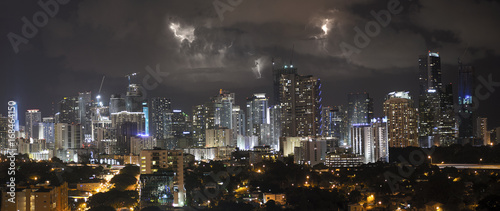 Electrical Storm Downtown Miami Florida Wallpaper Mural