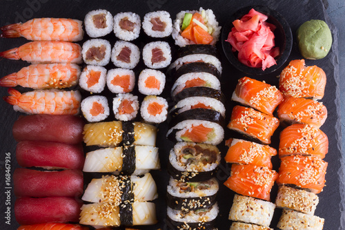 Japanese sushi big set pattern, top view Canvas Print