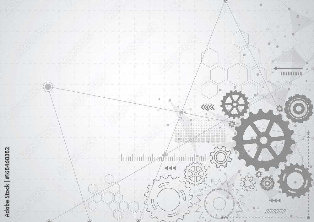 Fototapeta Abstract gear wheel mechanism background. Machine technology. Vector illustration