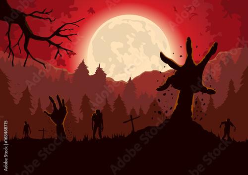 Plakat Ramię sylwetka zombie dotarcia z ziemi grobu w noc pełni księżyca i czerwone niebo.