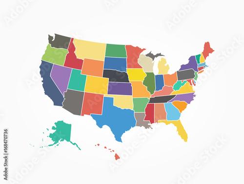 Mapa Stanów Zjednoczonych Ameryki. Płaski kolor