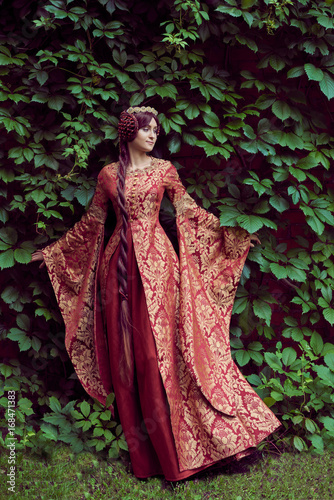 Printed kitchen splashbacks Historical buildings Beautiful Isabella of France, queen of England on Middle Ages period in red gown near medieval castle