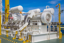 Gas Booster Compressor Reciprocating Type Drive By High Voltage Electric Motor To Compress Light Gases To Process, Offshore Oil And Gas Business In The Gulf Of Thailand.