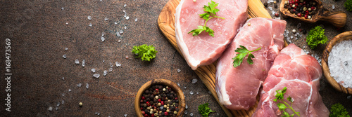 Fresh meat. Raw pork steak. Long banner format. Canvas Print