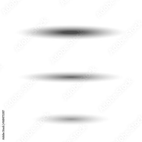 Shadow oval set. Gray soft shadows, isolated on white background ...