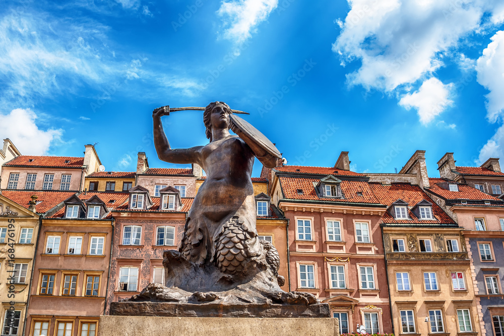 Fototapety, obrazy: The Statue of Mermaid of Warsaw, Polish Syrenka Warzawska, a symbol of Warsaw in the old town of city