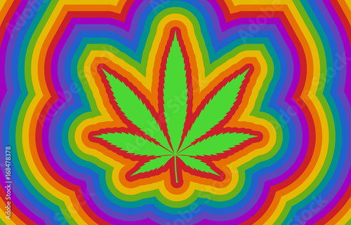 Fotografie, Obraz Colorful psychedelic rainbow high with marijuana / cannabis leaf flat illustrati