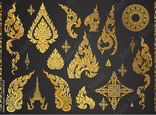 Set of Thai art element, Decorative motifs Fototapete