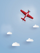 .red Plane Flying  On The Sky.The Illustrations Do The Same Paper Art And Craft Style.
