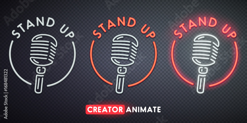 Valokuva  Stand Up neon sign. Creator animate. Isolated logo.