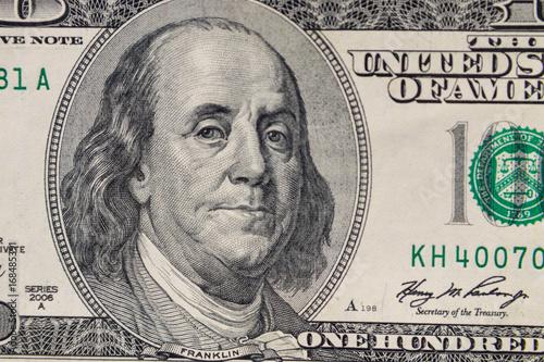 Photo  Macro shot of one hundred dollars bill