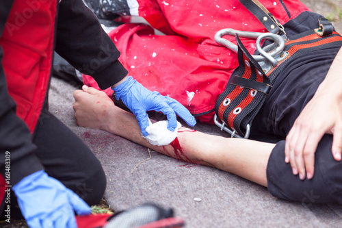 Fotografie, Obraz  Work accident. First aid.