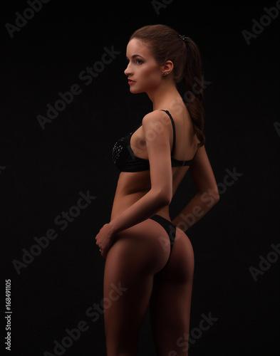 Woman In Black Lingerie On Dark Studio Background Slim Girl With Nice Ass Posing