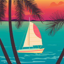 Yacht On A Sunset And Silhouettes Of Palms.