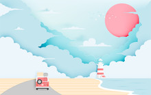 Road Trip On The Beach Paper Art Style In Pastel Scheme