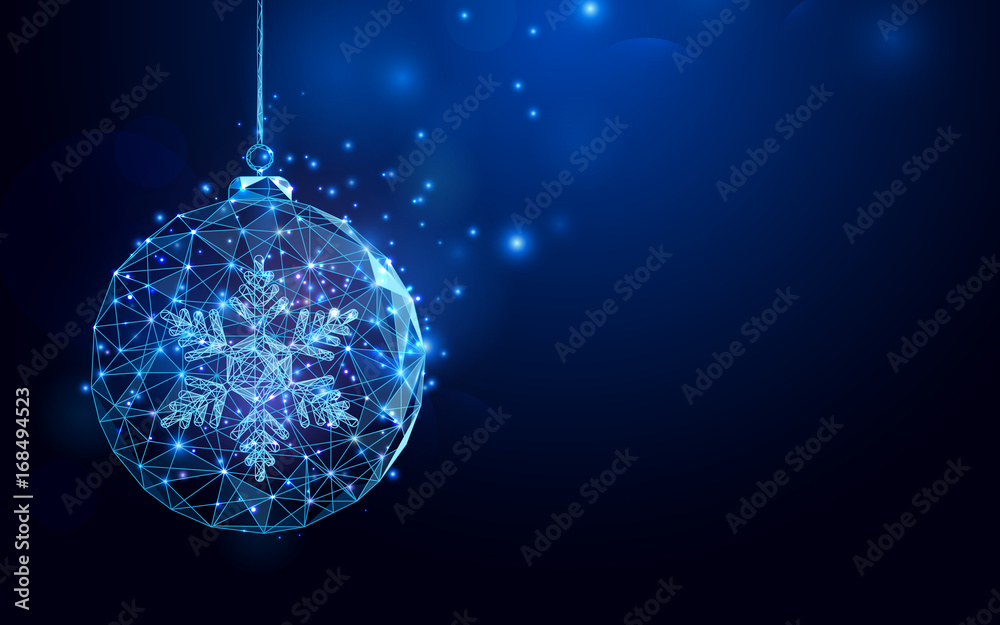 Fototapeta Low polygon Christmas ball wireframe mesh on dark blue background