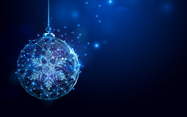 Low polygon Christmas ball wireframe mesh on dark blue background
