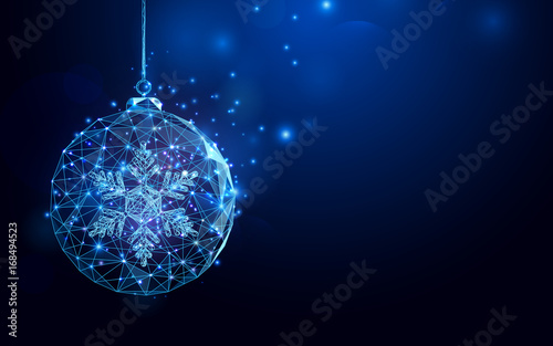 Fotomural Low polygon Christmas ball wireframe mesh on dark blue background