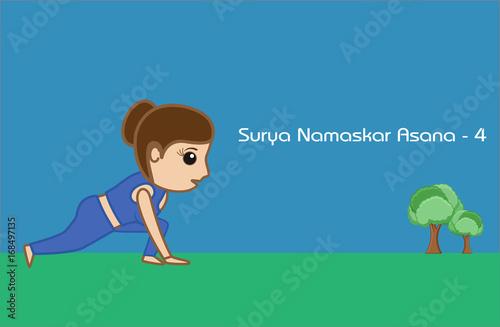 Yoga Cartoon Vector Pose Surya Namaskar Asana Step 4 Buy This Stock Vector And Explore Similar Vectors At Adobe Stock Adobe Stock
