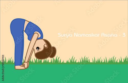 Yoga Cartoon Vector Pose Surya Namaskar Asana Step 3 Buy This Stock Vector And Explore Similar Vectors At Adobe Stock Adobe Stock