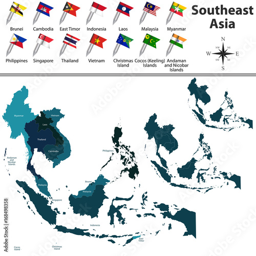Political map of Southeast Asia Canvas Print