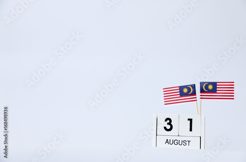 Fotografía  AUGUST 31 Wooden calendar Concept independence day of Malaysia and Malaysia national day