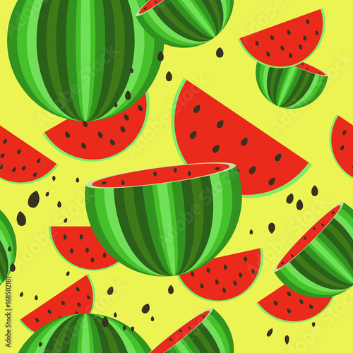 Foto op Canvas Draw Seamless pattern of watermelons. Vector. Background. Summer