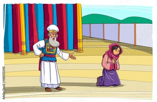Photo  The priest Eli rebukes Hannah during her prayer