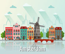 Vector Illustration Of Amsterdam. Old European City.