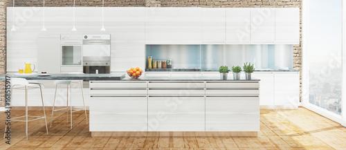 Cucina nuova bianca in legno con isola e parquet – kaufen ...
