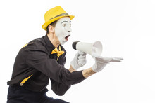 Portrait Of A Male Mime Artist, Shouting Or Showing On A Megaphone
