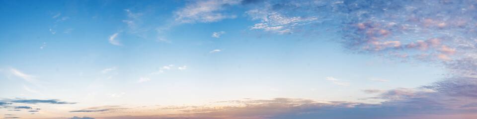 Vibrant color panoramic sky with cloud on morning. Beautiful cirrus cloud. Panorama high resolution photograph.