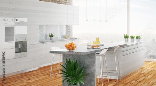 Cucina bianca in legno moderno con parquet e isola – kaufen ...