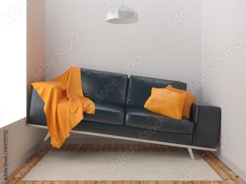 Fotografie, Obraz  Divano fuori misura in stanza piccola, poco spazio