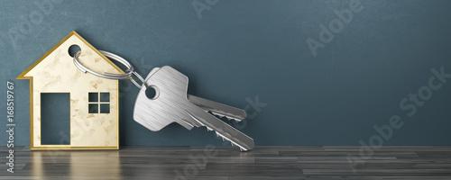 Fotomural  Chiavi con porta chiavi a forma di casa