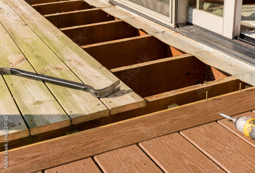 Valokuva  Replacement of old wooden deck with composite material