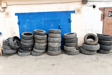 Close Up Of Wheel Tires Stored...