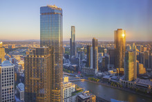 Aerial View Of Dramatic Sunset At Melbourne City Skyline