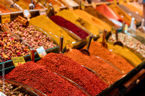 Printed kitchen splashbacks Spices Counter with spices. The Egyptian Bazaar. Istanbul. Turkey. May 2017